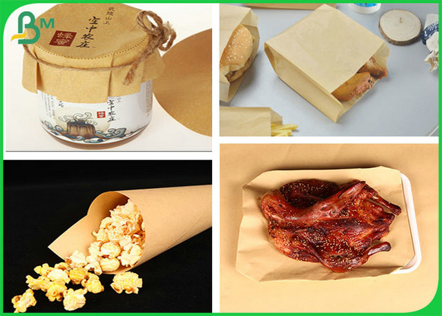 Food Grade 50GSM Light Brown Kraft Paper Roll For Packing Roast Duck Or Popcorn